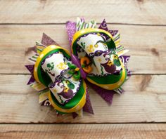 Mardi Gras Boutique Hair Bow by JadyBugBows on Etsy, $8.99