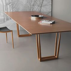 Slim dining table- mesa de jantar Slim Slim Dining table by… – Table Types Pallet Furniture Chairs, Living Room Decor Furniture, Furniture Dining Table, Wooden Dining Tables, Dining Table Design, Steel Furniture, Dining Room Table, Modern Furniture, Dining Chairs