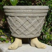 """Feet Pot Feet by Designer Stone. H3"""" x W2"""" x D5""""  Handcrafted solid cast stone. Made in the USA! Available in 4 colors. Shown in Old Stone. dsgardenshop.com"""