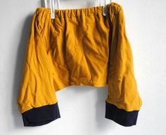 Mustard Yellow and Navy Blue Kids Harem Over The Knee Shorts