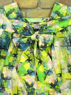 【L~XL】80's VINTAGE 総柄コットン 半袖 ロング丈 レトロ ワンピース 黄緑 http://littletree-usa.com/products/detail.php?product_id=1523