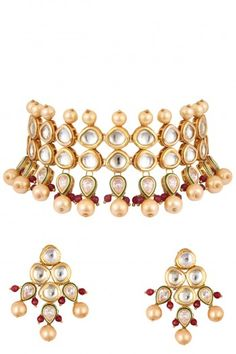 OSR Jewellers Gold Finish Polki Stone and Pearl Three String Necklace Set #OSRJewellers #accessories #shopnow #ppus #happyshopping