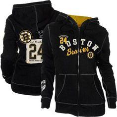 Old Time Hockey Boston Bruins Ladies Nadine Full Zip Hoodie - Black