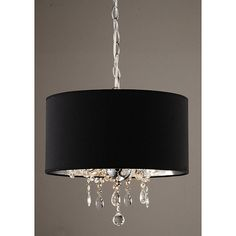 Add some fashion and flair to your home with this elegant pendant chandelier. With its black and chrome shade surrounding three dangling crystal balls, this chic three light fixture will be a bright addition to any room in your house.
