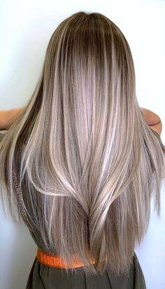 Brown Hair Balayage, Blonde Hair With Highlights, Brown Blonde Hair, Hair Color Balayage, Brunette Hair, Black Hair, Ombre Hair, Medium Ash Blonde Hair, Blonde Hair Looks