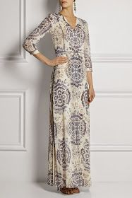 Tory Burch modest dress long sleeve printed maxi dress     Follow Mode-sty for stylish modest clothing #nolayering