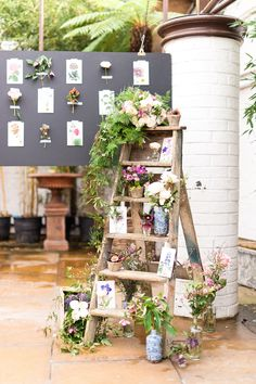 Ladder display. Philippa Craddock. Photography: Anushé Low - anushe.com  Read More: http://www.stylemepretty.com/destination-weddings/2014/04/23/botanical-wedding-inspiration/