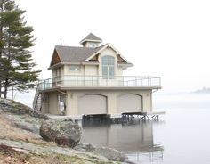 Early spring season on Lake Muskoka. Executive cottage and this boathouse sold midway through 2012 season