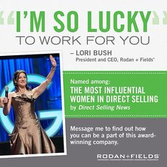 This amazing woman is the President and CEO. After first saying no to the docs when first approached for Proactiv while at Neutrogena, she saw it rise to take over the acne market (and was kicking herself)! When asked again to come work for the docs NEW brand, Rodan + Fields, she jumped and had since redefined direct sales!   Anyone who joins me in business today or Tuesday, march 18th will get a free regimen of choice ($200 value!) Join me in this amazing journey!