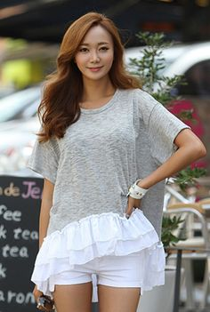 Today's Hot Pick :Ruffled Hem T-Shirt http://fashionstylep.com/SFSELFAA0001435/happy745kren/out High quality Korean fashion direct from our design studio in South Korea! We offer competitive pricing and guaranteed quality products. If you have any questions about sizing feel free to contact us any time and we can provide detailed measurements.