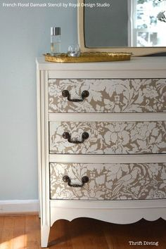 Paint and Stencil a Pretty Dresser is 10 Easy Steps! - How to Video Tutorial included! Painted Furniture Stencils from Royal Design Studio