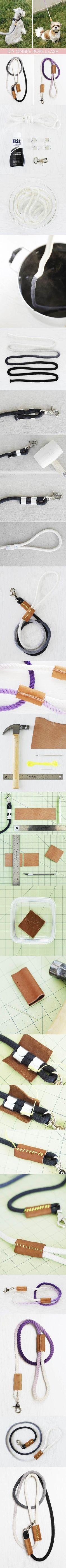DIY Modern Dip-Dyed Rope Dog Leash 2