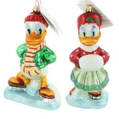 New+Disney+Ornaments | New Christopher Radko Rare Donald & Daisy Duck Skater Disney Ornament ...
