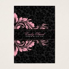 Elegant black monochromatic vintage floral damasks with pink floral ornament, business card template. Size: x Color: Signature UV Matte. Cake Logo Design, Bg Design, Branding Design, Business Card Design, Business Cards, Visiting Card Design, Framed Wallpaper, Luxury Logo, Idee Diy