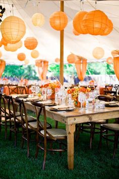Lanterns over tables