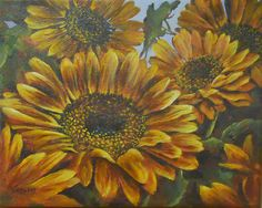 Sunflowers by Pat Carlson #4 of the FB 60/60 Artists Painting Challenge
