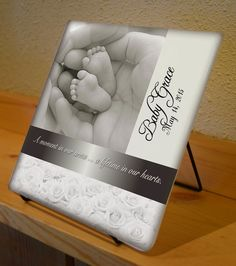 Baby Feet ~ Photo Glass Tile with Easel ~ for Mason & Adam
