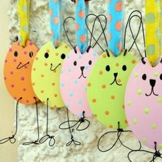 These wooden and wire Easter decorations are hand painted in a lovely Springtime mix of colours. They will look great hung on an Easter tree and will bring some springtime cheer to a home at Easter. Hoppy Easter, Easter Bunny, Easter Eggs, Easter Projects, Easter Crafts For Kids, Easter Ideas, Easter Decor, Bunny Crafts, Easter Tree