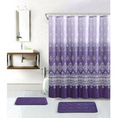 Purple bathroom decor sets plush gray accessories large size of to yellow a Purple Bathroom Accessories, Bathroom Colors Gray, Purple Bathrooms, Bathroom Decor Sets, Toilet Accessories, Bathroom Furniture, Bedroom Decor, Shower Curtains Walmart, Shower Curtain Hooks