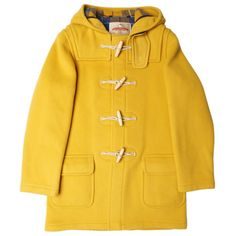Yellow Water Repellent Wool Duffle Coat (4.205.865 IDR) ❤ liked on Polyvore featuring outerwear, coats, hooded coat, over coat, toggle coats, wool coat and duffle coat