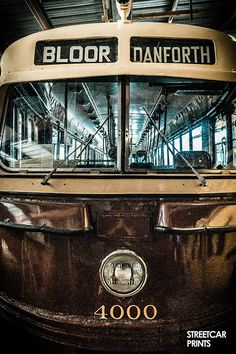 Photo canvas art of a vintage Toronto TTC streetcar for Bloor and Danforth Toronto Ontario Canada, Toronto City, Bus Art, Thing 1, Canadian History, Light Rail, My Kind Of Town, Photo Canvas, Canvas Art