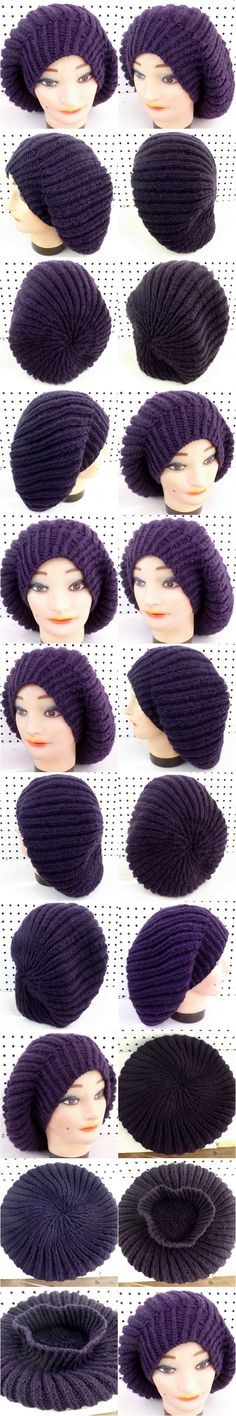 MARY Knit Slouchy Beret Hat in Purple