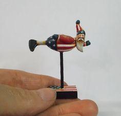 Folk Art Primitive Doll Miniature Lisa Scherer Santa Claus Dollhouse Christmas