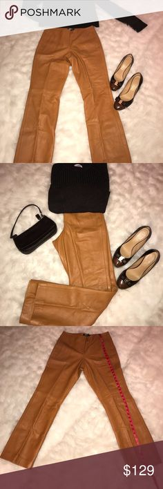100% Leather- Butter Soft Fully lined Pants Cognac colored butter soft leather pants. No pockets allow for full shape reveal. Dkny Pants