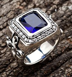 Tribal Cross Sapphire Men Ring