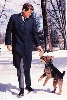 President Kennedy and his Welsh Terrier.