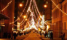 Christmas lights in Helsinki Finland