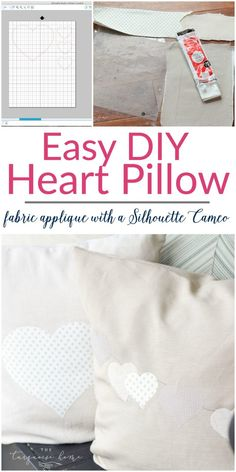 Such a CUTE and easy DIY pillow project!   Fabric Appliqué with a Silhouette Cameo