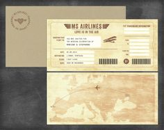 "Marina and Stephane weddin invitation ""Vintage Boarding Pass"" by Liscromo #liscromo #wedding #invitation"