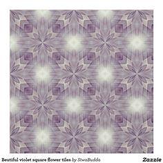 Beutiful violet square flower tiles fabric