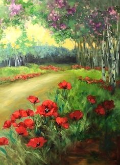 Wind Blown Poppy Landscape Painting and a Tennessee Flower Painting Workshop by Texas Artist Nancy Medina, painting by artist Nancy Medina