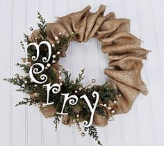 Burlap Wreath with ornaments/pinecones instead of letters