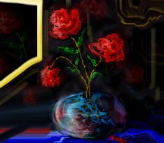 Una de mis creaciones digitales, un florero azul con tres rosas rojas.