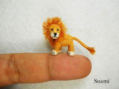 Miniature Crochet Lion - Micro Mini Amigurumi Crochet Tiny Animal Doll - Made To Order by SuAmi on Etsy Crochet Lion, Crochet Amigurumi, Amigurumi Toys, Cute Crochet, Crochet Toys, Crochet Things, Crochet Art, Knitted Animals, Tiny Dolls