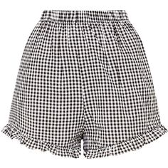 Lorinda Black Gingham Frill Hem Shorts ($25) ❤ liked on Polyvore featuring shorts, bottoms, pants, frilly shorts, ruffle shorts, ruffle hem shorts and gingham shorts