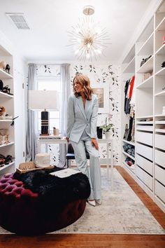 I am finally sharing my cloffice tour including tons of photos & a video showing you all the first room in A Lo Abode that I have finished decorating. Bedroom Closet Design, Master Bedroom Closet, Bedroom Decor, Home Office Closet, Ikea Closet, Glam Closet, Classy Closets, Tiny Office, Front Office