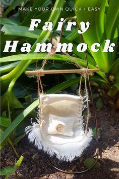 Own Fairy Hammock - Easy DIY Make your own teeny tiny fairy hammock. Quick and easy fairy craftMake your own teeny tiny fairy hammock. Quick and easy fairy craft Fairy Garden Houses, Diy Garden, Gnome Garden, Garden Crafts, Garden Projects, Garden Ideas, Garden Art, Mini Mundo, Fairy Garden Furniture