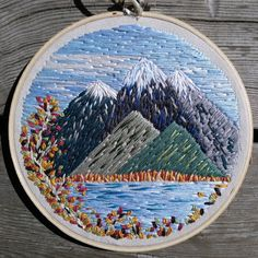 "Fall Mountain Embroidery Landscape Scene 6"" Hoop by Crehetive on Etsy https://www.etsy.com/listing/525549381/fall-mountain-embroidery-landscape-scene"