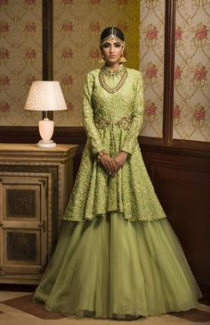 Indo Western Outfit - Bride in a Lime Green Jacket with Net Lehenga | WedMeGoood #wedmegood #indianbride #indianwedding #weddinglehenga #green #limegreen #lehenga