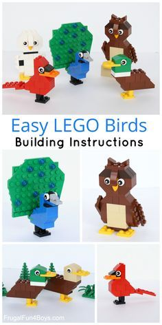 Simple Brick Birds Building Instructions Simple LEGO Birds Building Instructions – Build ducks, a cardinal, owls, and a LEGO peacock Lego Minecraft, Minecraft Buildings, Lego Design, Projects For Kids, Crafts For Kids, Project Ideas, Lego Therapy, Lego Challenge, Lego Club