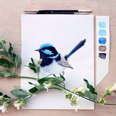 Ideas for blue bird tattoo canvases Fabric Painting, Watercolour Painting, Watercolors, White Bird Tattoos, Bird Drawings, Watercolor Bird, Christmas Art, Bird Art, Beautiful Paintings