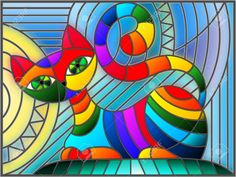Stained glass illustration with abstract geometric cat. Illustration in stained glass style with abstract geometric cat Royalty Free Stock Photo Stained Glass Quilt, Stained Glass Designs, Stained Glass Patterns, L'art Du Vitrail, Geometric Cat, Cat Quilt, Cat Drawing, Fantastic Art, Cat Art