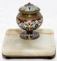18th century inkwells | FRENCH CHAMPLEVÉ & ONYX INKWELL CENTURY 1900, SQUARE CHAMPLEVE ...