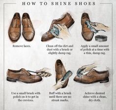 How to shine leather shoes.