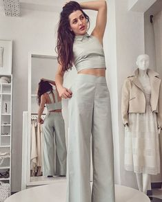 Incredibly pretty Vassiliki Troufakou in Cotton Poetry trousers and Freshness top by Ioanna Kourbela Basics SS18 collection | xamamclothes.com _ shipping worldwide _ #xamamphilosophytowear #chania #purecotton #ioannakourbela #ioannakourbelabasics #SS18 #narrativesymbolism #vassilikitroufakou Choices, Poetry, Trousers, Celebrities, Cotton, How To Wear, Shopping, Collection, Tops