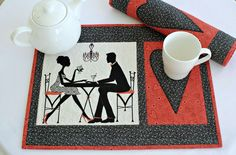 Valentine Placemats, Quilted Table Mats, Black Red Place Mats, Valentine Table Decor, Set of 2 placemats, Quiltsy Handmade by RedNeedleQuilts on Etsy